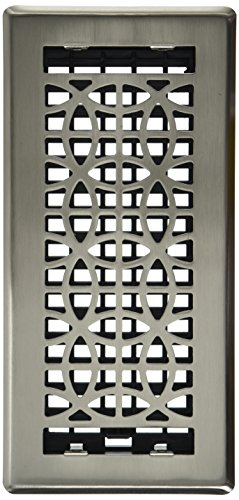 Decor Grates ECH410-NKL Eclipse Plated Floor Register, 4-Inch by 10-Inch, Nickel (Plated Nickel Floor Steel Brushed)