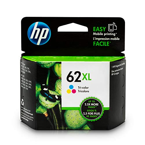 HP 62XL Tri-color Ink Cartridge (C2P07AN) for HP ENVY 5540 5541 5542 5543 5544 5545 5547 5548 5549 5640 5642 5643 5644 5660 5661 5663 5664 5665 7640 7643 7644 7645 HP Officejet 200 250 258 5740 5741 ()