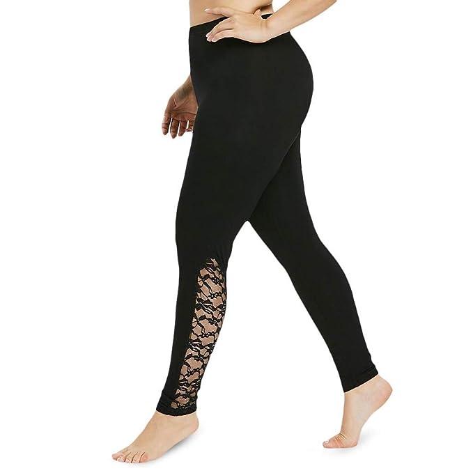 Amazon.com: Women Plus Size Yoga Pants High Waist Lace ...