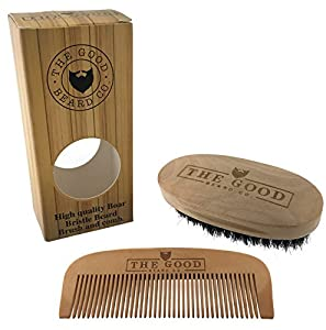 best beard brush and comb grooming kit for men by the good beard co premium quality wood. Black Bedroom Furniture Sets. Home Design Ideas