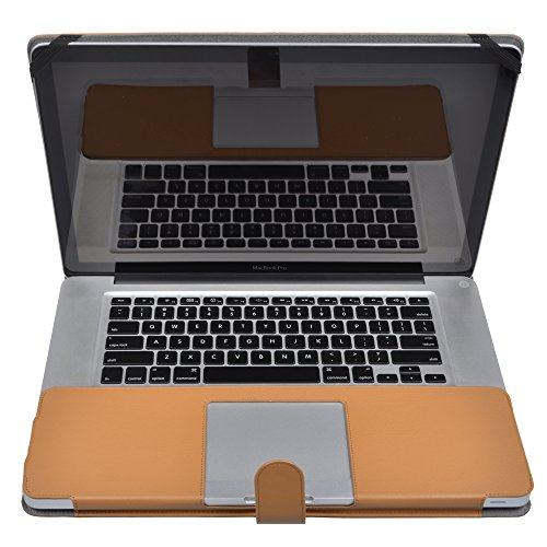 Case Star® Premium Quality Brown Color Protective PU Leather Carry Case Cover with Magnetic Snap Closure for Apple Macbook Pro 15 Inches MD103LL/A 15.4 Inch Laptop