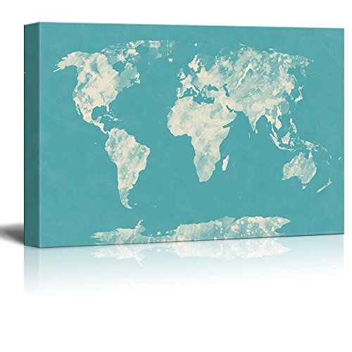 Wll Art Abstract Worldmap on Teal Background and