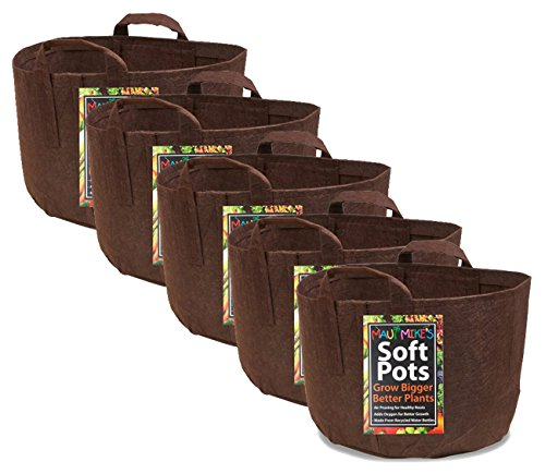 Eco Friendly Garden - Soft POTS (3 Gallon) (5 Pack) Best Aeration Fabric Garden Pots from Maui Mike's. Thicker Hemp Material and Recycled from Plastic Water Bottles. Eco Friendly.