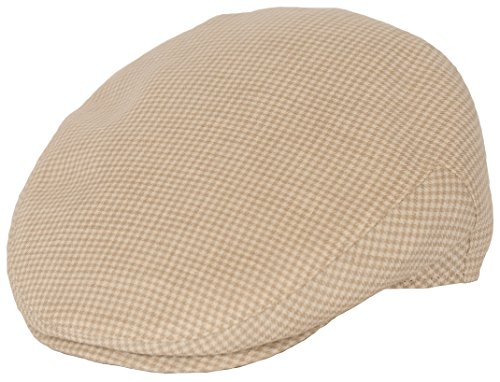 Cotton Lined Ivy Cap - Lupo Italian Ivy Luxury Flat Cap (XL, Tan Houndstooth)