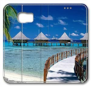 Walkway To Paradise French Polynesia Leather Cover For Samsung Galaxy S6(Compatible With Verizon,AT&T,Sprint,T Mobile,Unlocked,Internatinal)