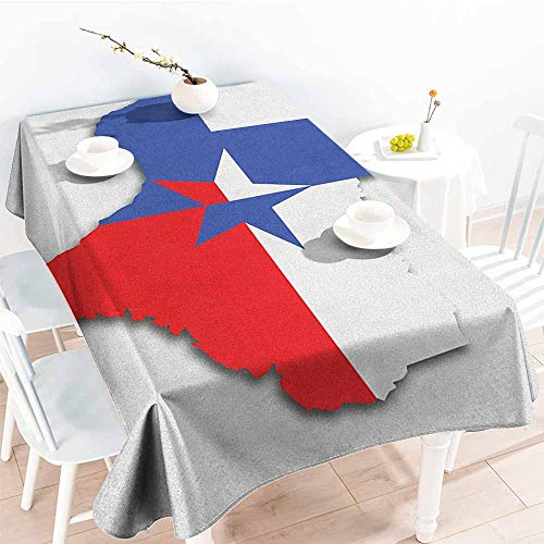 EwaskyOnline Rectangular Tablecloth,Texas Star Outline of The Texas