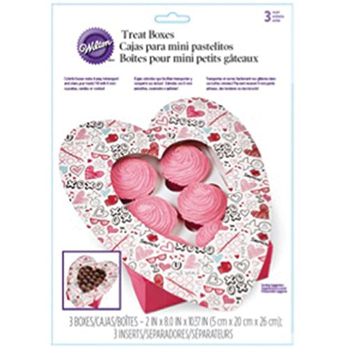 Amazon.com: Wilton 415-2800 3 Count Valentines Day Doodles Heart-Shaped Treat Boxes, Assorted: Kitchen & Dining