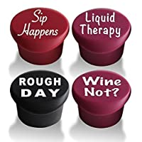 4 tapones de vino: los mejores accesorios de regalos de vino para etiquetar sus botellas y racks de vino personalizados. Selle su vino favorito con arte de tapa de botella reutilizable de silicona