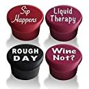 VinoPlease Reusable 4 Wine Stoppers Silicone Caps with Box - Funny