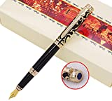 Duke Sapphire Fountain Pen Gold Trim with 5 Black Ink Pen Cartridge and Ink Refill Converter in Luxury Gift Box Set for Business Signature and Collection