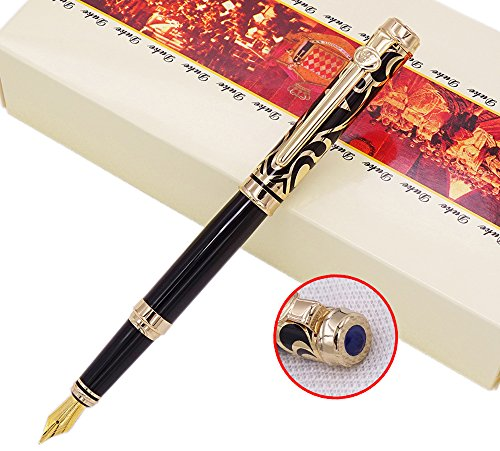 Duke Sapphire Fountain Pen Gold Trim with Ink Refill Converter in Luxury Gift Box Set for Business Signature and Collection
