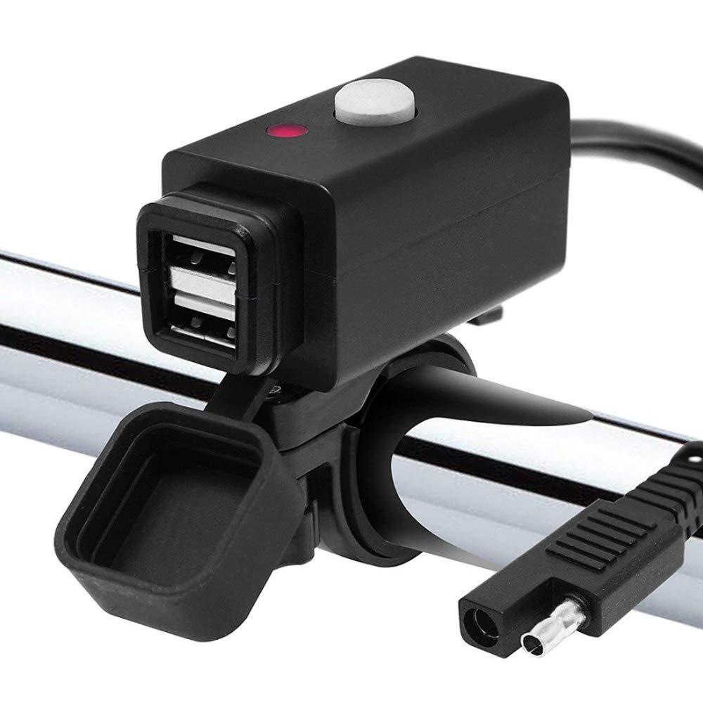 ICOOM Double USB Moto Chargeur USB Kit SAE à USB Adaptateur pour Charger Le téléphone Mobile et GPS Carré et étanche Interrupteur indicateur de Moto Accessoires. (2-USB-M1, Noir) ARM