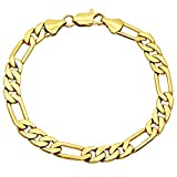 7.5mm Smooth 14k Gold Plated Italian Style Figaro Link Chain Bracelet + Microfiber Jewelry Polishing Cloth