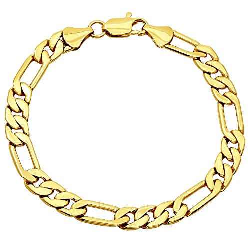 - The Bling Factory 7.8mm Smooth 14k Gold Plated Italian Style Figaro Link Chain Bracelet, 8