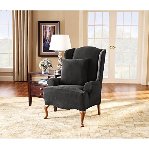(Sure Fit Stretch Pique Knit  - Wing Chair Slipcover  - Black (SF35297))
