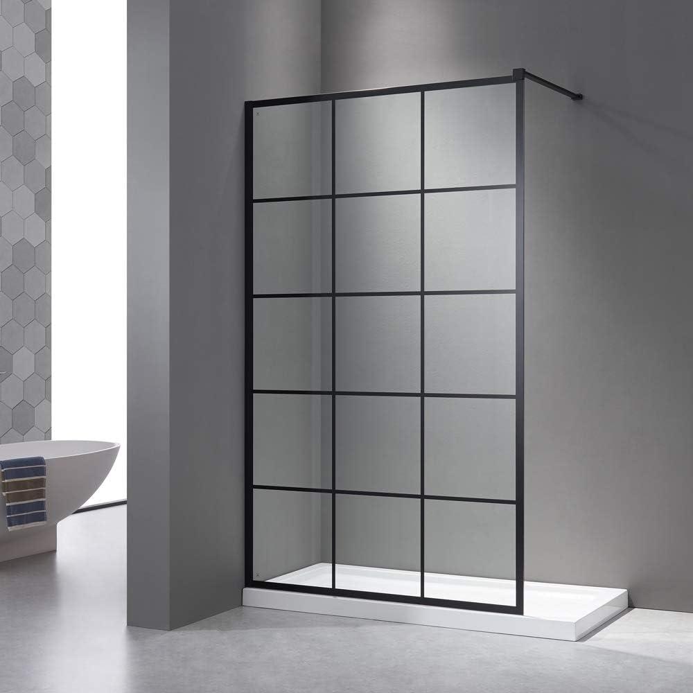 Mampara de ducha 120 x 200 cm, pared lateral negra, Walk en ducha, vidrio de seguridad templado de 8 mm, nancristal, con estabilizador de acero inoxidable y perfil de pared negro: Amazon.es: