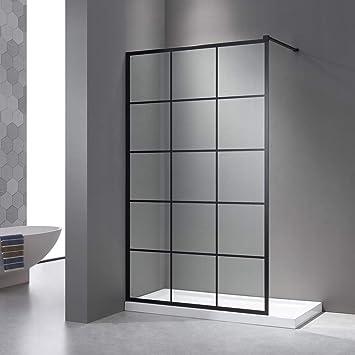 Mampara de ducha de 120 x 200 cm, paredes laterales negras, Walk en ducha, cristal de