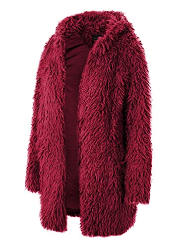 Design by Olivia Women's Hooded Fluffy Faux Fur Coat with Side Pockets Wine M