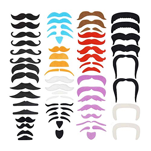 LuckyStar365 60 pcs Colorful Novelty Fake Mustaches, Mustache Party Supplies, Self Adhesive Mustaches for Masquerade Party & Performance