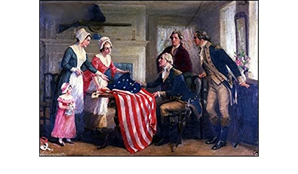 BETSY ROSS SEWING THE AMERICAN US FLAG PAINTING REAL CANVAS REVOLUTION ART PRINT