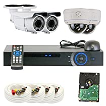 Professional 4 Channel HDCVI DVR Security Camera System with 4 x 1/2.8 2.0 Mega pixels HDCVI SONY CMOS CCTV Security Camera, 2.8~12mm Manual Varifocal Lens. One is 72PCS Infrared LED, 164 feet IR distance and one is 30PCS Infrared LED, 65 feet IR distance. 1080p real time preview, 720P realtime recording. iPhone, Android Viewing. Network live, backup, playback, USB2.0 Backup, PTZ Control