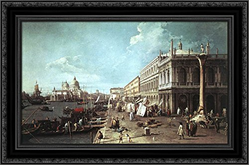 - The Molo with The Library and The Entrance to The Grand Canal 24x16 Black Ornate Wood Framed Canvas Art by Canaletto