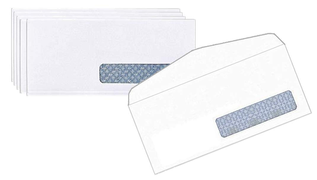 1InTheOffice #10, Right Window Security-Tint Gummed Envelopes, 500/Box by 1InTheOffice