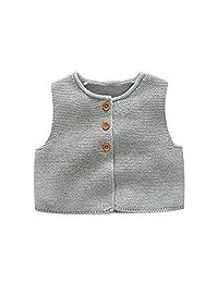 Kids Toddler Little Girls Front Button-down Soild Sweater Cardigan Waistcoat Vest