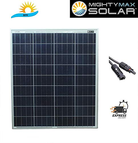 Mighty Max Battery 80 Watt 12 Volt Waterproof Polycrystalline Solar Panel Charger Brand Product