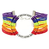 Soul Statement Rainbow String Wrap Bracelet: Pride Jewelry for Men Women Unisex (Rainbow)