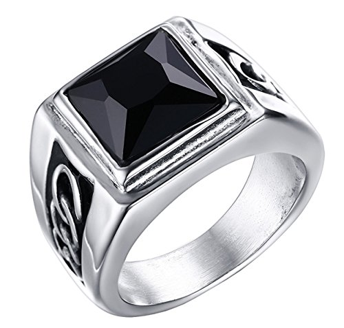 [ALEXTINA Men's 16MM Stainless Steel Ring with Black Agate Stone Silver Size 10] (In Stock Hip Hop Costumes)