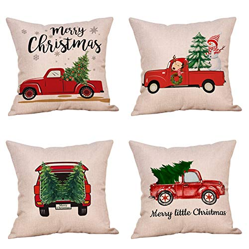Steven.Smith 4 Pack Rustic Red Christmas Truck and Xmas Tree Throw Pillow Case Happy Snowman Deer Holiday Decorative Cushion Cover 18 x 18 Inch Cotton Linen Christmas Farmhouse Decor (Red Truck)