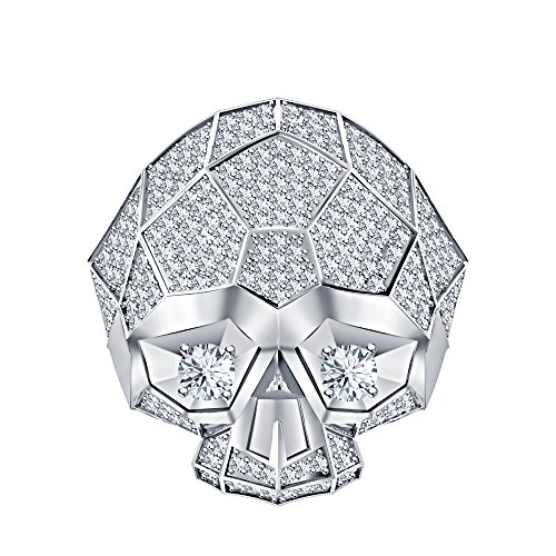 RUDRAFASHION Men's & Women's 925 Sterling Silver Plated 3.80 ctw Created White Sapphire Half Jaw Skull Ring by RUDRAFASHION