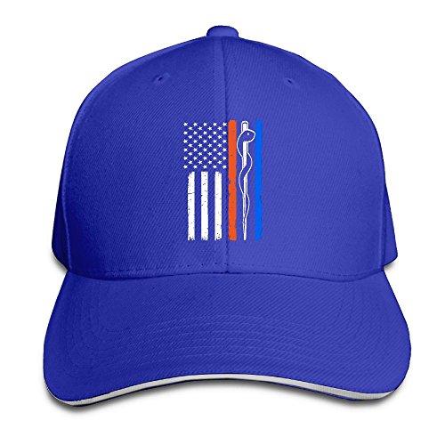 SNMHILL Men Women The Thin Blue Flag Fashion Peaked Sandwich Hat Sports Adjustable Baseball Cap Unisex