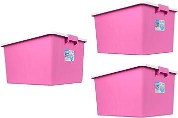 CSQ Hebilla Caja de almacenamiento, Cubeta de manta Libros Caja de almacenamiento Almacén Corredor Balcón Caja de almacenamiento Superponible con rodillo Caja y cesta (Color : Red) : Amazon.es: Hogar