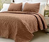 Web Linens Inc Oversized - 3 Piece 100% Cotton Quilted Coverlet Set - Brown - King/California King 104 x 96 Inches Wrinkle/Fade Resistant Light Weight Luxurious All Season Super Soft Machine Washable