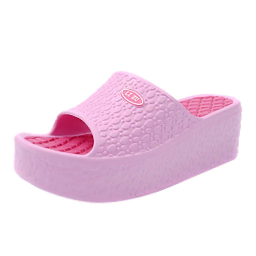 AOJIAN Shoes Womens Sandals Summer Thick Platform Wedge Beach Flip Flop Slide Slipper Clog Mule Pink