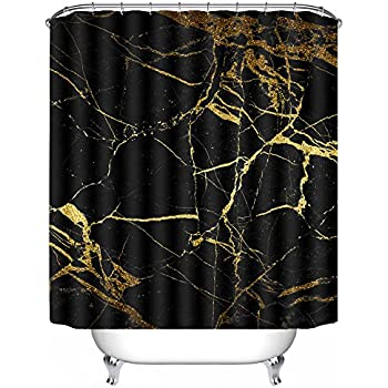 POPS AMERICA Mildew Resistant White Bath Curtains 60 X 72 Black Gold Marble Shower Curtain Liner Waterproof Polyester Fabric Bathroom Decor Set With 12