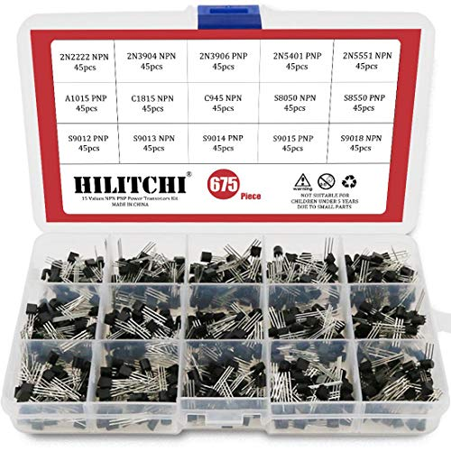 Npn Power Transistor - Hilitchi 675-Piece 15 Values 2N2222-S9018 NPN PNP Power General Purpose Transistors Assortment Kit