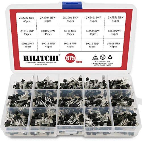 Hilitchi 675-Piece 15 Values 2N2222-S9018 NPN PNP Power General Purpose Transistors Assortment Kit