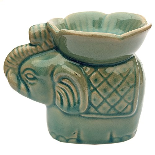 Expressive Scent Ceramic Burner for Oil and Wax Melts - Fragrance Oil Warmer Lamp Elephant - Turquoise