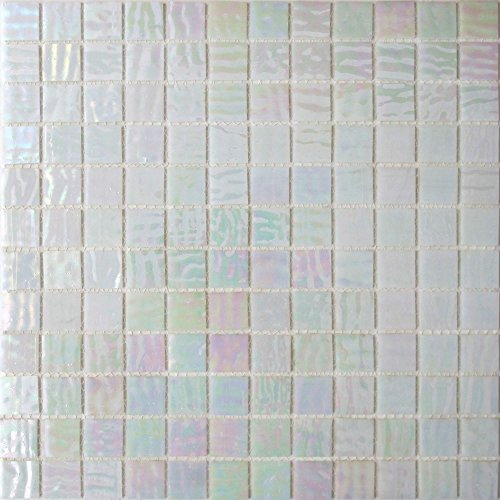 White Stained Glass - 1/2 sheet (72 tile) - Abalone - Mesh Mounted