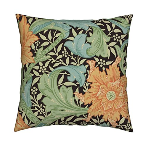 (Roostery William Morris Floral Victorian Damask Antique Vines Senart Organic Sateen Throw Pillow William Morris ~ Single Stem by Peacoquettedesigns Cover and Insert)