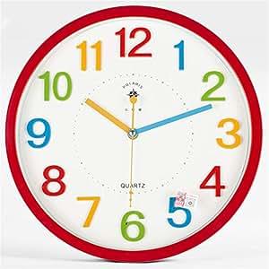 Linbing123 Reloj de Cuarzo de la habitación de los niños silenciosos, Creatividad de Dibujos Animados