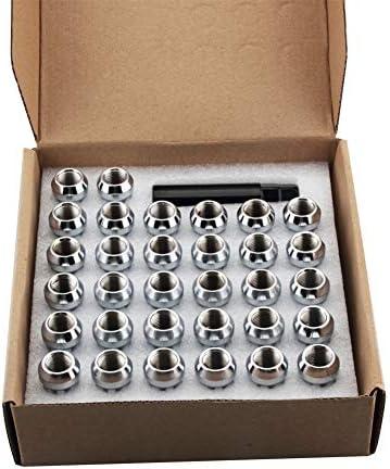 DCVAMOUS バルジ 7スプライン クロム拡張スチールホイールラグナット 14x1.5スレッド 高さ2インチ 6ラグシボレーGMC用 24個