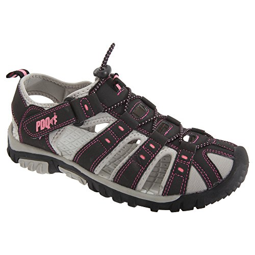 PDQ Womens/Ladies Toggle & Touch Fastening Sports Sandals (9 US) (Black/Pink)