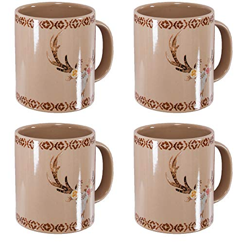 (HiEnd Accents MG1812 Skull/Floral 4 Piece Mug Set, 20 ounce, Tan)