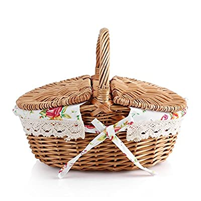 Zerodis Wicker Picnic Basket With Lids, Oval Rattan Basket With Handle,Double Lidded Floral Linen-liner Family Camping Picnic Basket Organizer Home Decor