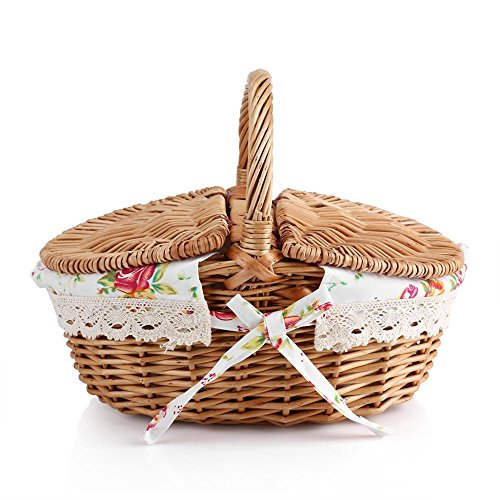 (Zerodis Wicker Picnic Basket With Lids, Oval Rattan Basket With Handle,Double Lidded Floral Linen-liner Family Camping Picnic Basket Organizer Home Decor)