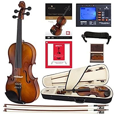 Cecilio CVN-300 Solidwood Ebony Fitted Violin with D'Addario Prelude Strings from Cecilio Musical Instruments